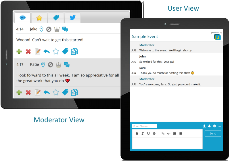 JotCast moderator and user view
